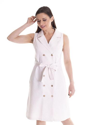 Stamina Kolsuz Beli Bağcıklı Elbise Beyaz